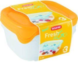 Curver Fresh&Go Ételtartó szett (3x0,8L) Szögletes Narancs/Átlátszó (6/karton)