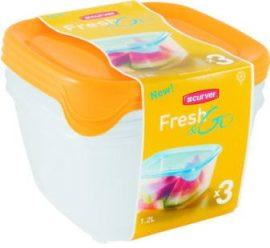 Curver Fresh&Go Ételtartó szett (3x1,2L) Szögletes Narancs/Átlátszó (6/karton)