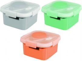 Curver Smart to Go szögletes 1,1l ételtartó Vegyes színek (szürke, barack, menta) (6/karton)