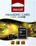 Maxell MICRO SD kártya, 16GB (adapteres) (10db/karton)