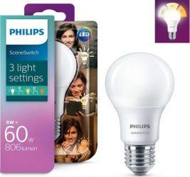 Philips LED normál 8W A60 E27 827-825-822 (60W) SceneSwitch 2700K (6/karton)