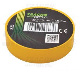 PVC Szigetelőszalag 20m*18mm SÁRGA (10/zsugor, 250/karton)